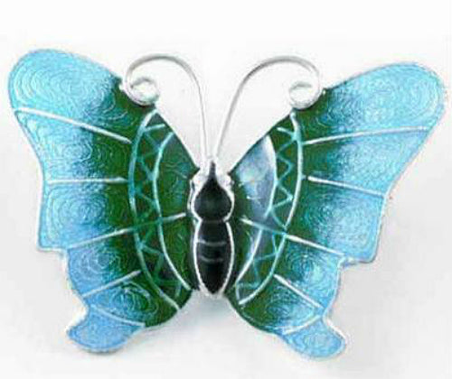 Sterling Silver and Blue Green Enamel Butterfly Pin