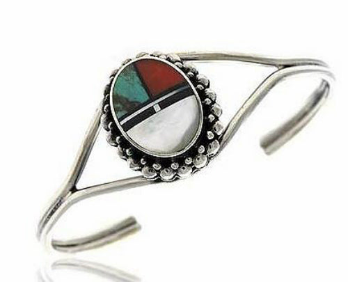 Sterling Silver White Mixed Inlaid Cuff Bangle