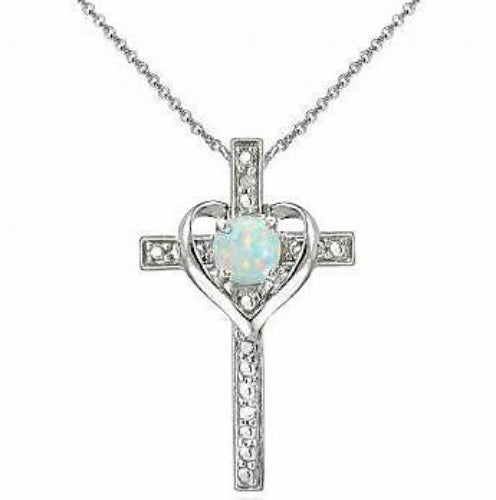 Sterling Silver Heart Cross Created Opal Necklace