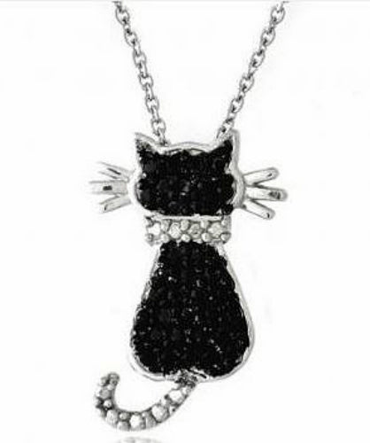 Rhodium Plated Black Cat Accent Diamond Pendant Necklace