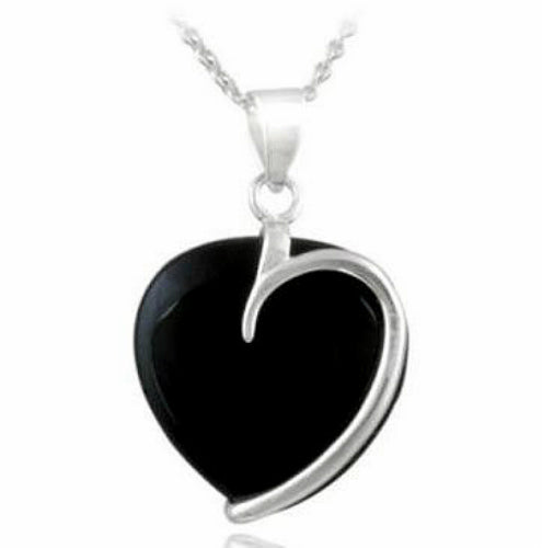 Sterling Silver Black Onyx Heart Pendant Necklace