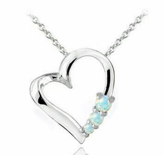 Sterling Silver Created Opal Floating Heart Necklace