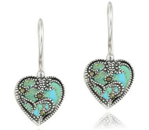 Sterling Silver Created Turquoise and Marcasite Earrings