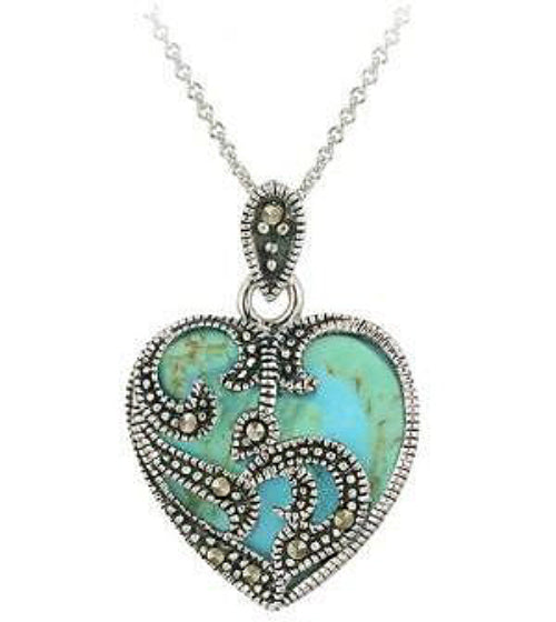 Sterling Silver Created Turquoise and Marcasite Heart Necklace