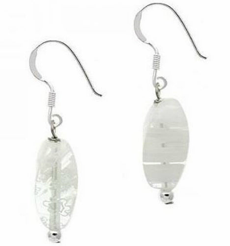 Sterling Silver White Milliefiori Glass Earrings