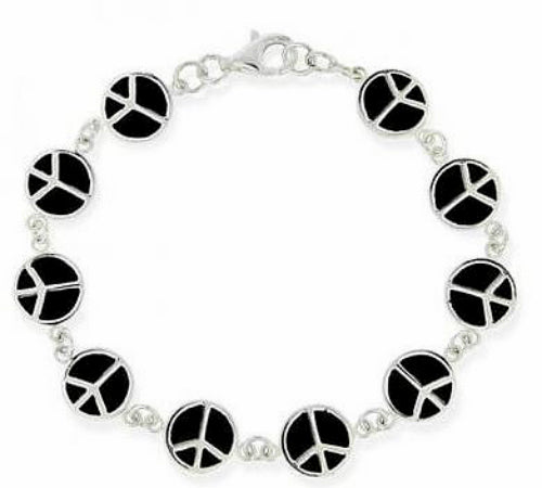 Sterling Silver and Black Enamel Peace Sign Bracelet