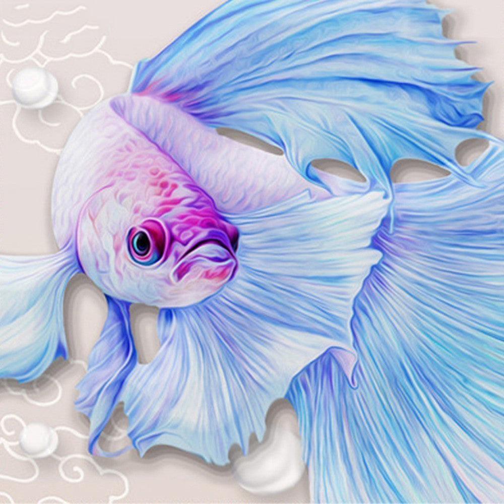 5D DIY Diamond Painting Soft Blue Betta Fish Drawing - craft kit