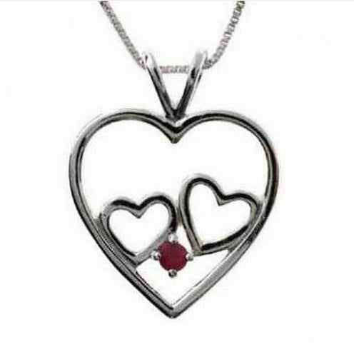 Sterling Silver Double Hearts Pendant Necklace with Ruby