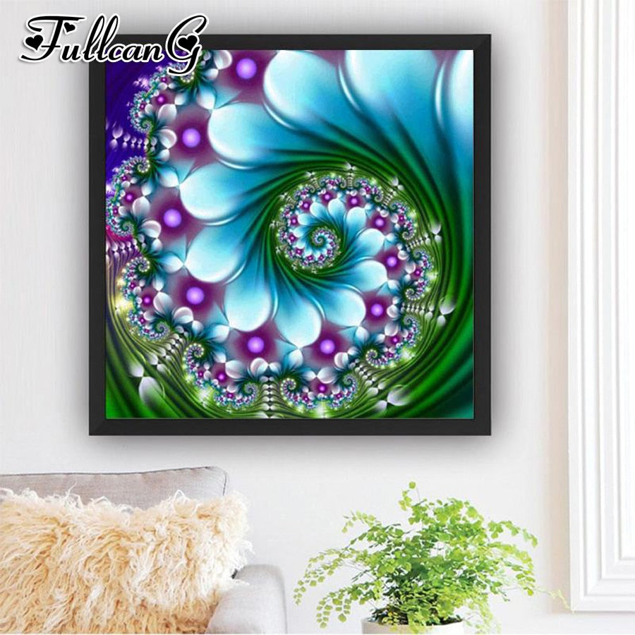 5D DIY Diamond Painting Lt Blue and Purple Swirl Fractal - craft kit