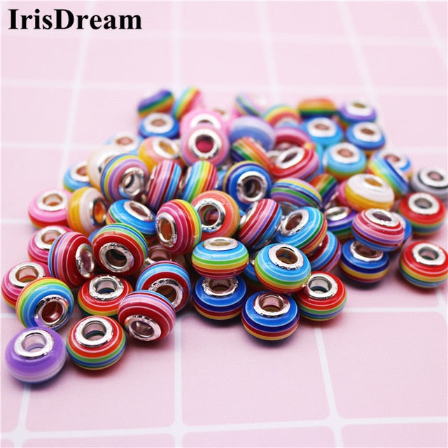 10pcs Lampwork Big Hole DIY Stripes and Silver Pandora Style Spacer Beads