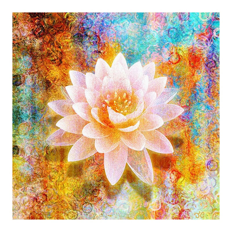 5D DIY Diamond Painting Soft Pink Lotus Flower - craft kit