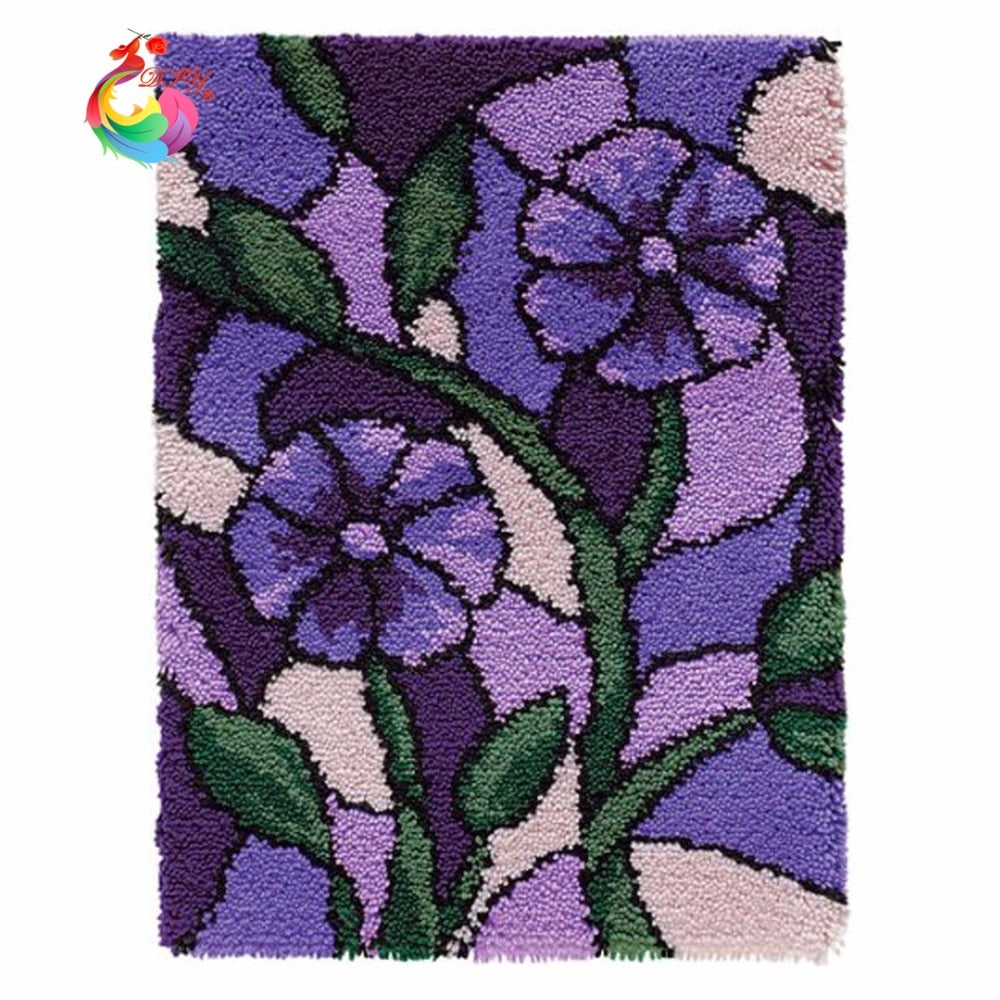 DIY Latch Hook Stained Glass Purple Flowers - craft kit