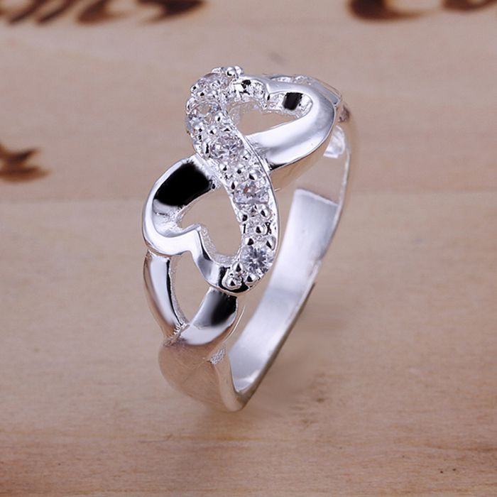 925 Silver Plated Infinity Loop Hearts Ring