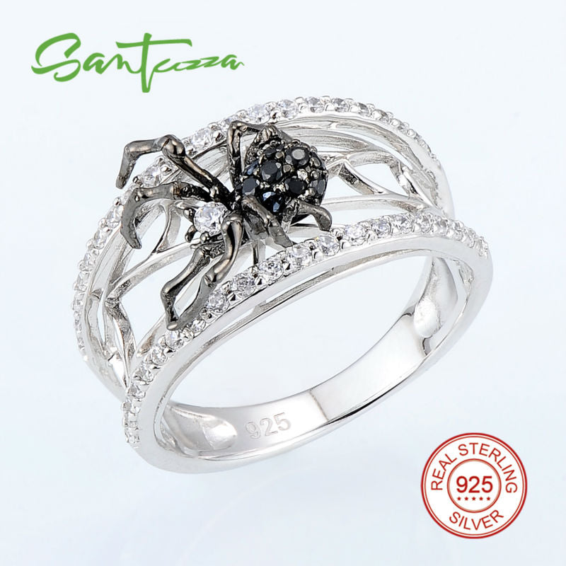 SANTUZZA 925 Sterling Silver and Black Spider Ring