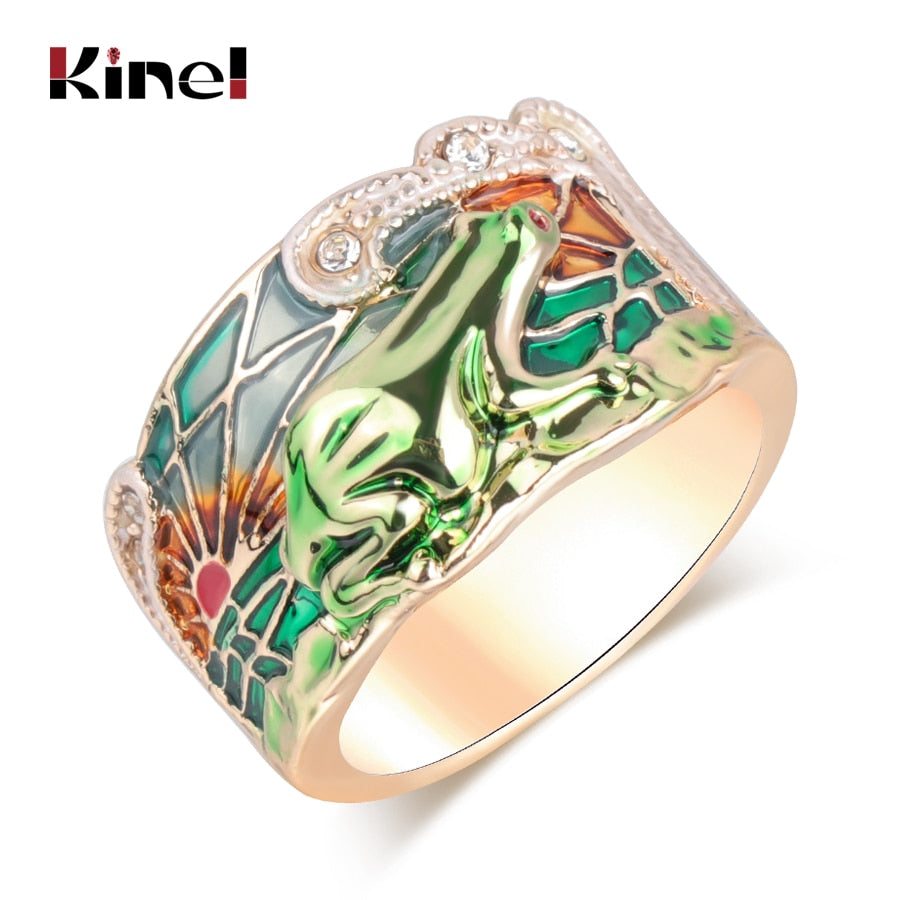 Kinel Green Enamel Wide Gold Tone Band Frog Ring