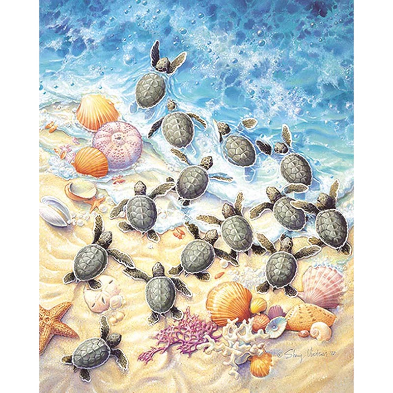 5D DIY Diamond Baby Sea Turtles at the Beach - craft kit