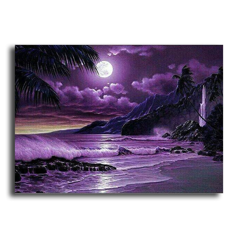5D DIY Full  Diamond Painting Purple Shoreline - craft kit