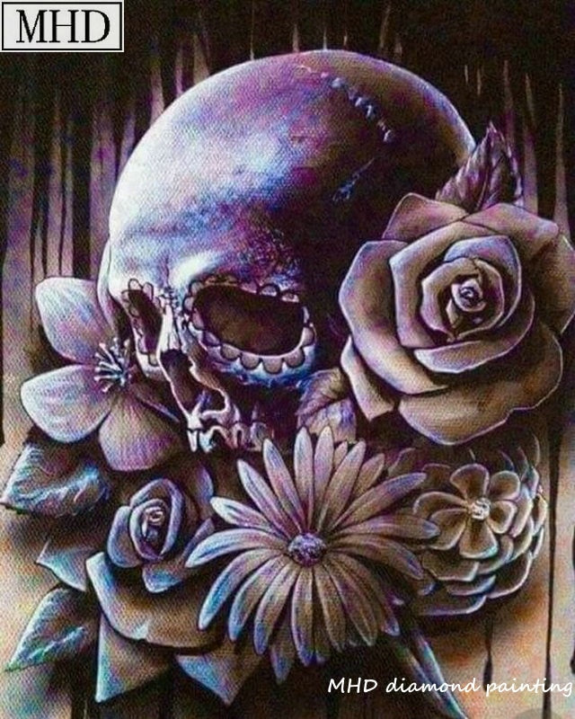 5D DIY Diamond Painting Purple Skull and Flowers - craft kit