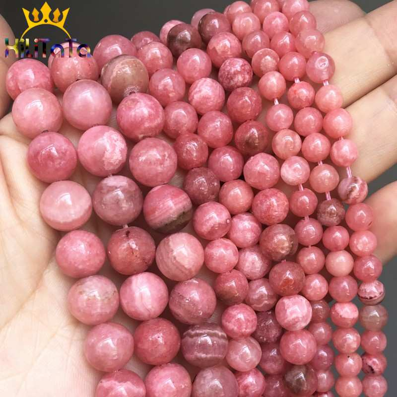 Natural Pink Stone Rhodochrosite Beads Round 6 to 10mm 15in