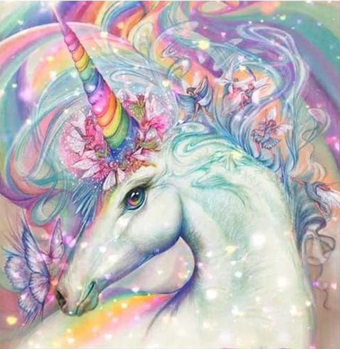 5D DIY Diamond Painting Rainbow Horn Unicorn - craft kit
