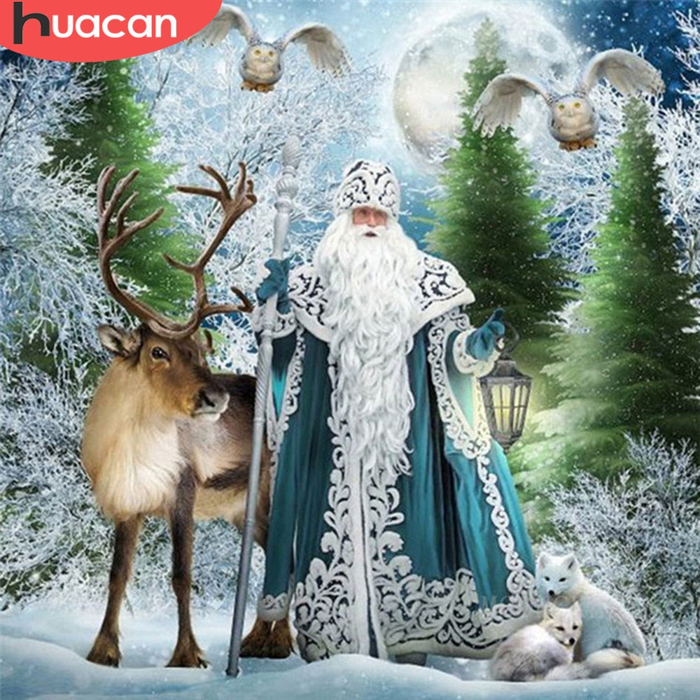 5D DIY Diamond Painting Blue Robe Father Christmas with Reindeer - craft kit