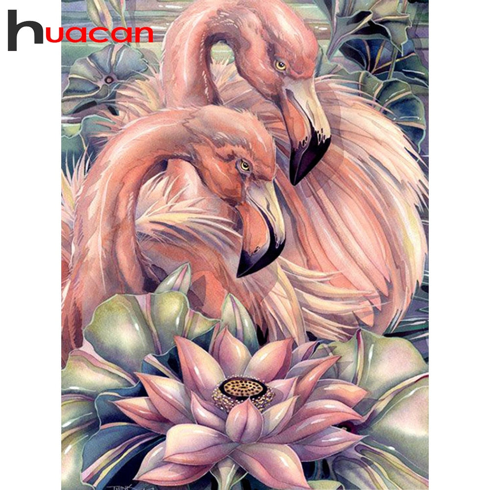 DIY Diamond Painting Soft Pink Flamingo Pair - craft kit