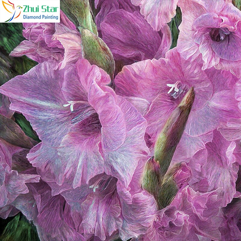 5D DIY Diamond Painting Light Purple Gladiolus - craft kit