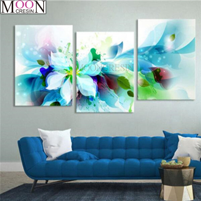 5D DIY Diamond Painting Soft Abstract Blue Floral Multi Panel - craft kit