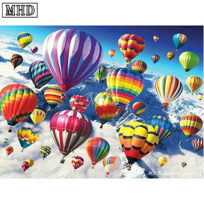5D DIY Diamond Painting Hot Air Balloons in the Clouds  - craft kit