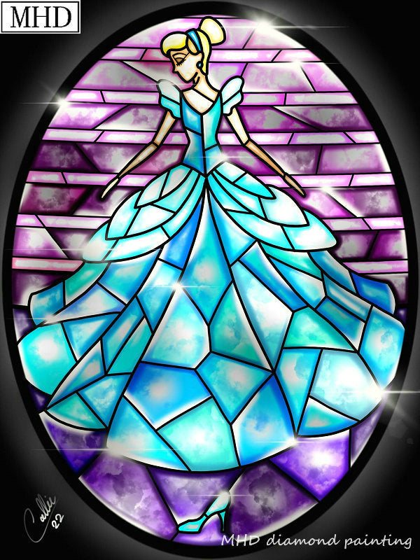 3D DIY Diamond Painting Stained Glass Blue Princess Dress - craft kit