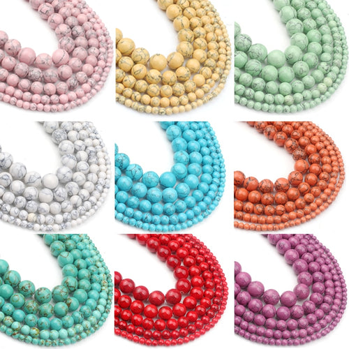 Dyed Howlite Round Stone Beads 4 to 12mm in 15in Strand, 9 Color Options