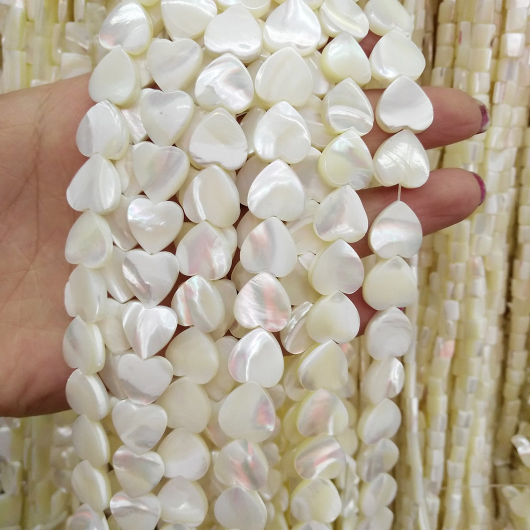 Mother of Pearl Shell White Heart Beads in 10mm or 12mm MOP Strand 15.5in