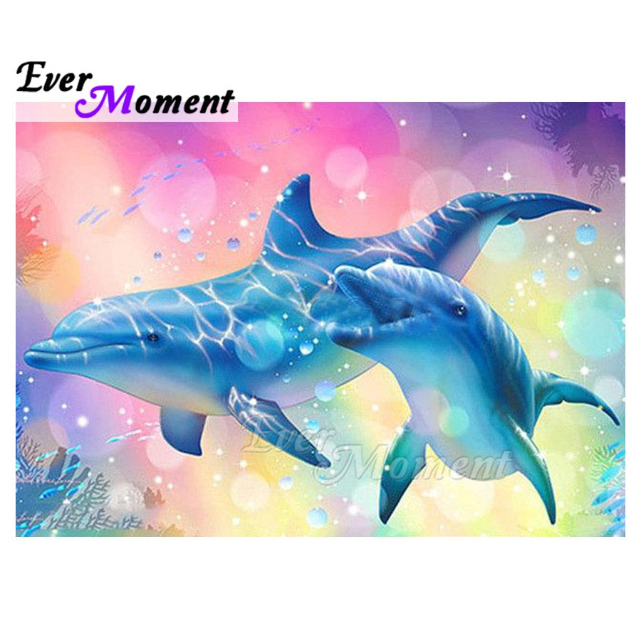 DIY Diamond Painting Pastel Blue Dolphins - craft kit