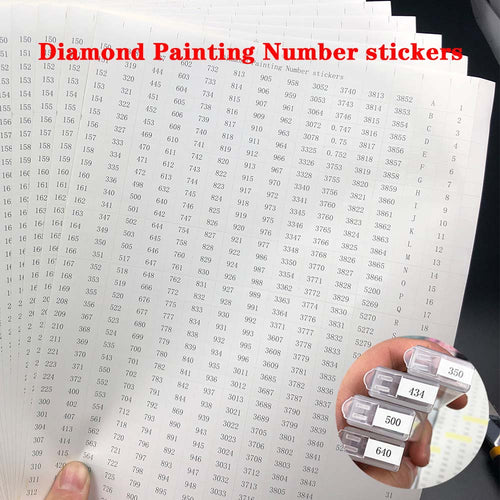 546 Diamond Painting or DMC Thread Number Label Stickers A4 size sheet