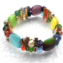 Women's Purple Cat's Eye and Bead Stretch Bracelet or Multi Color