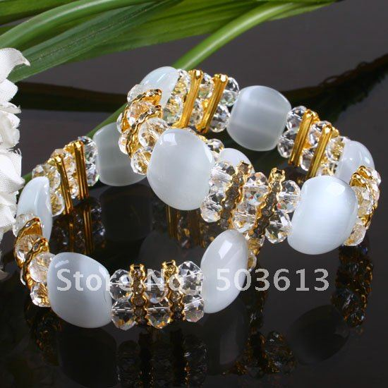 Women's White Cat's Eye and Bead Stretch Bracelet