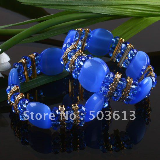 Women's Sapphire Blue Cat's Eye and Bead Stretch Bracelet