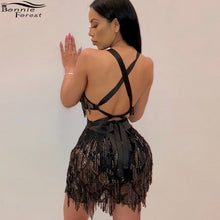Bonnie Forest Backless Bead Fringe Tassel Mini Dress