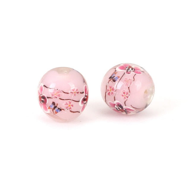 Lampwork Glass Japanese Style Cherry Blossom 16mm Round Bead