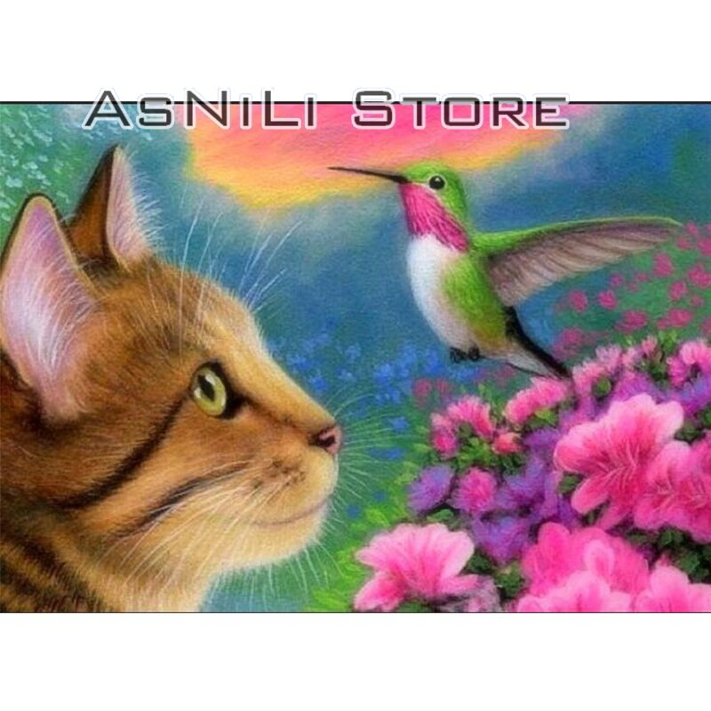 5D DIY Diamond Painting Cat and Hummingbird - craft kit