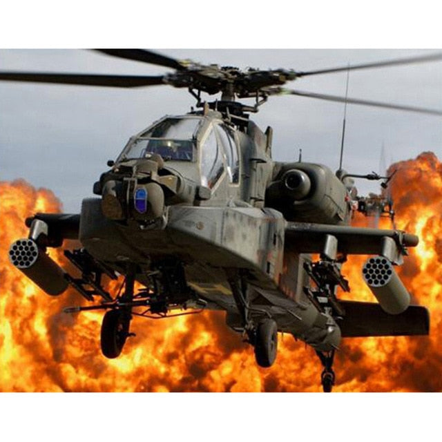 5D DIY Diamond Painting Apache Helicopter - craft kit
