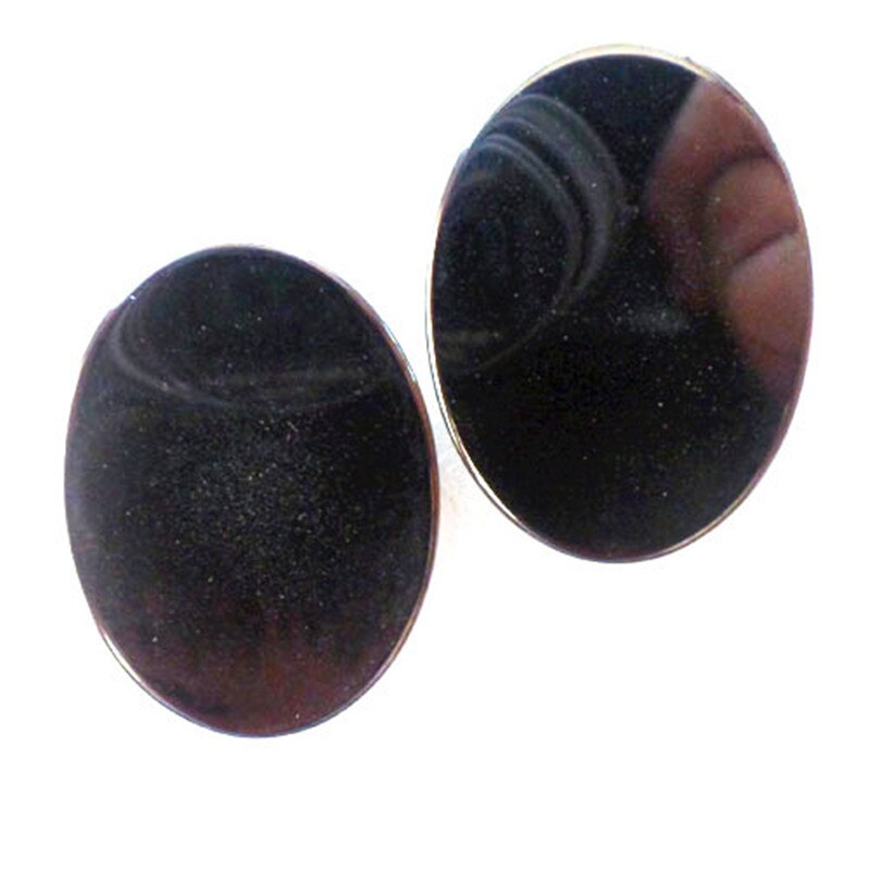 Natural Black Hematite Oval Cabochon 40x30mm Lot of 2
