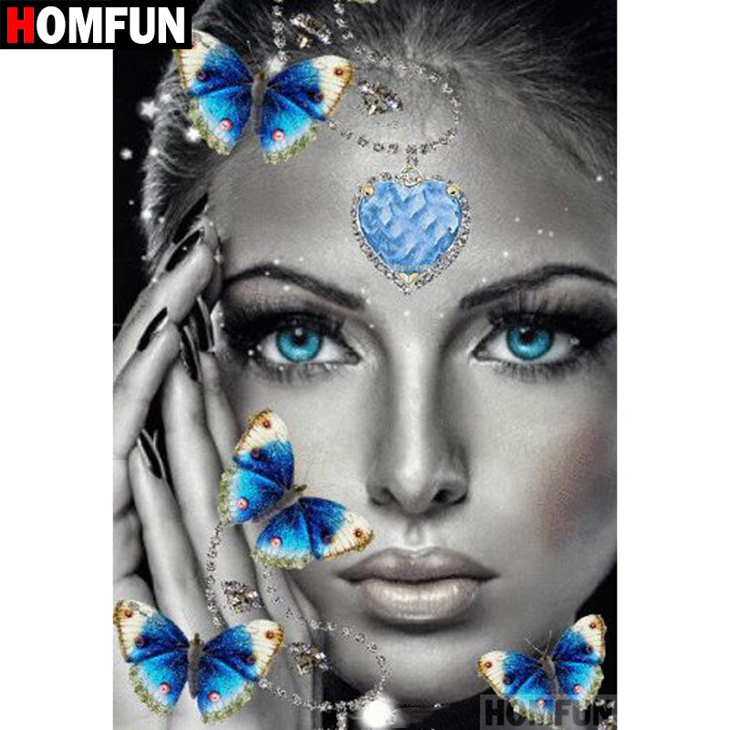 5D DIY Diamond Painting Blue Heart Eyes and Butterflies - craft kit