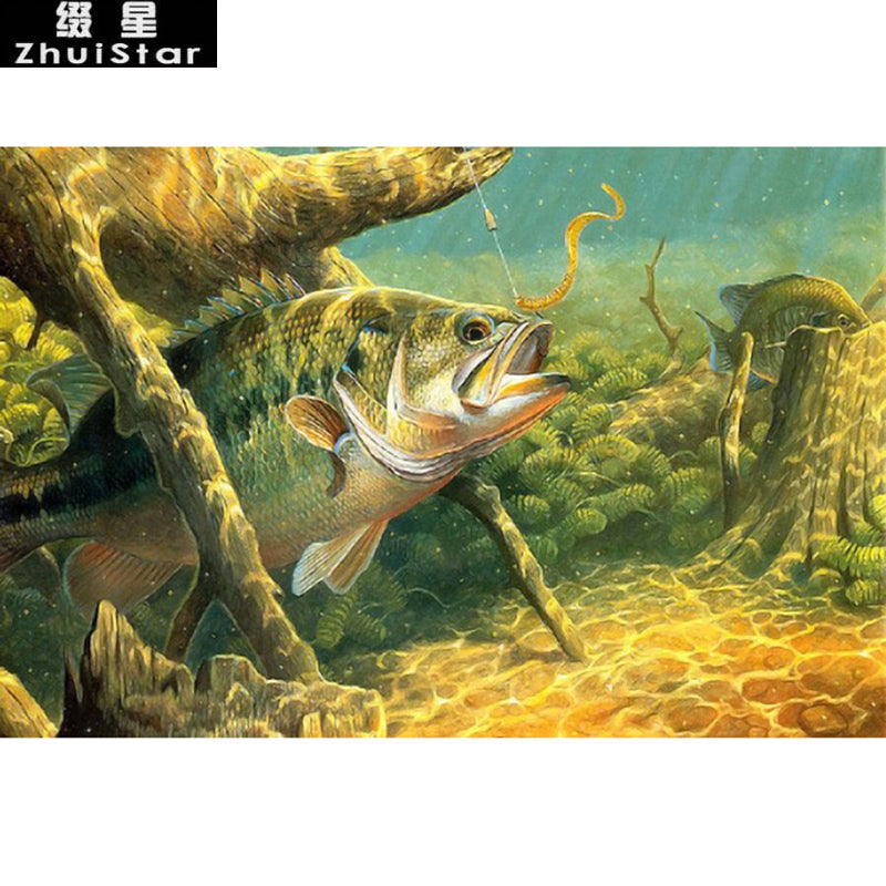 5D DIY Diamond Painting Underwater Bass Fishing - craft kit