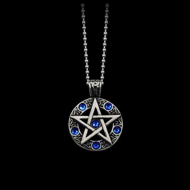 Pewter Color Pentagram Pendant Necklace Blue or Red CZ