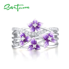 SANTUZZA 925 Sterling Silver Delicate Purple Orchid Flower Ring