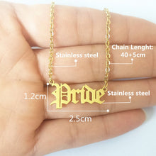 Stainless Steel Word Necklace Silver or Gold Tone