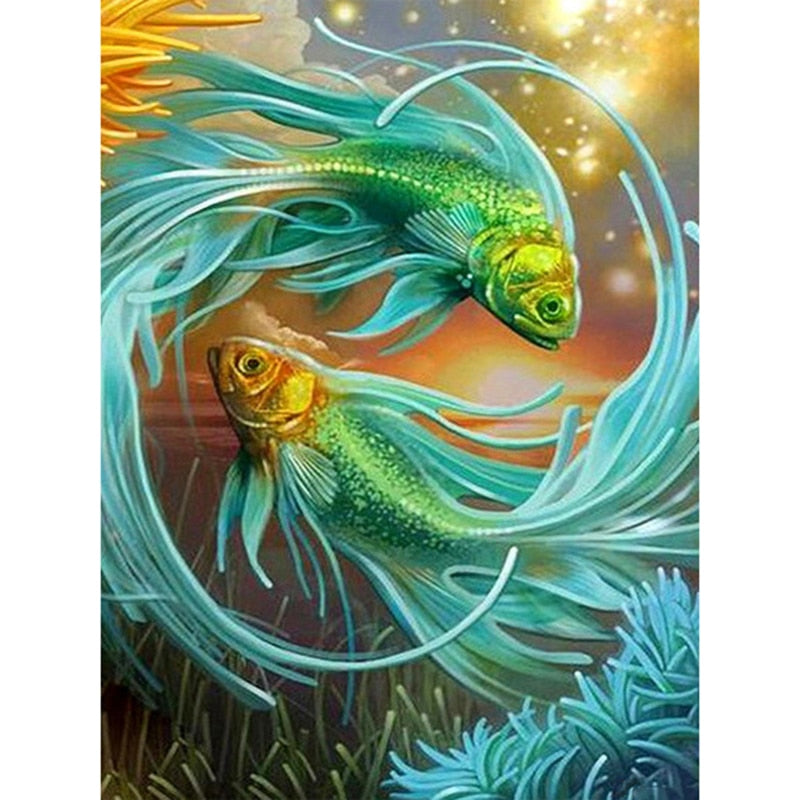 5D DIY Diamond Painting Aqua Fish Pair - Craft Kit