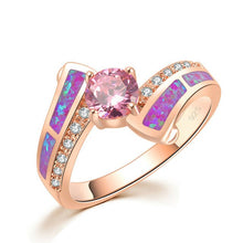 CiNily Rose Gold Color Pink Cubic Zirconia Purple Fire Opal Ring