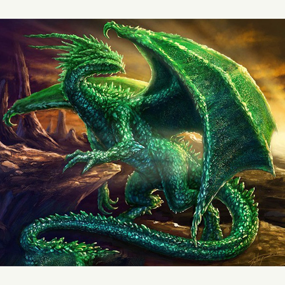 5D DIY Diamond Painting Emerald Green Dragon - craft kit
